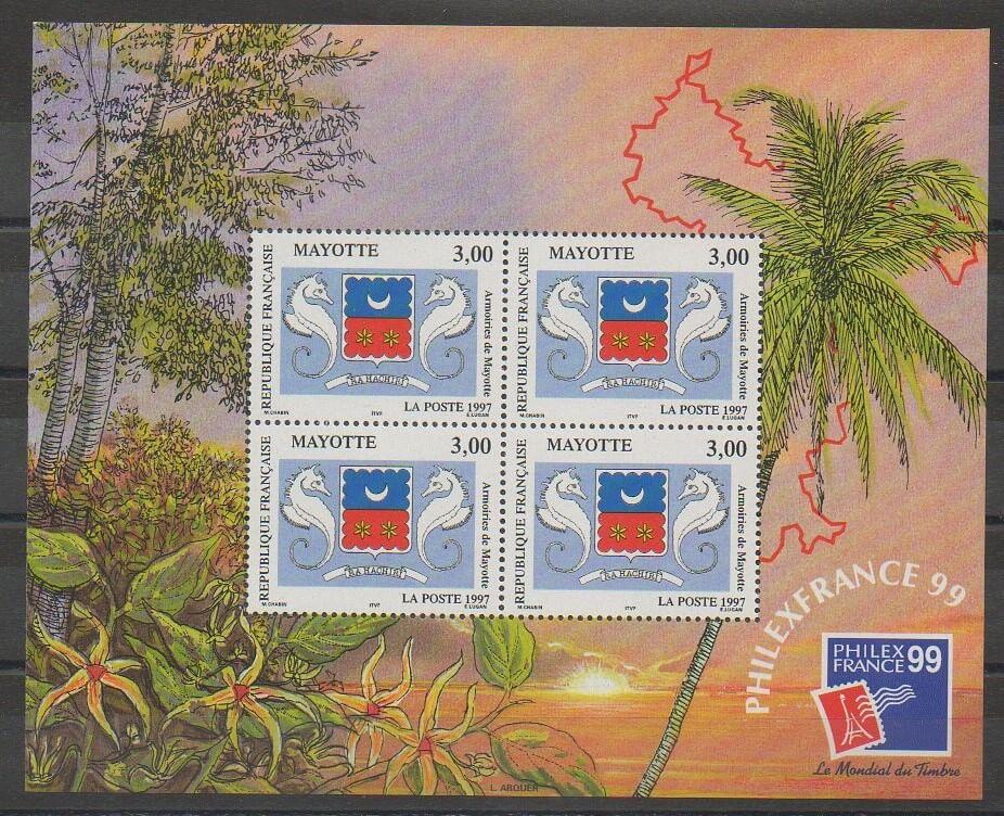 Bloc-feuillet numéro 1 de Mayotte en 1999