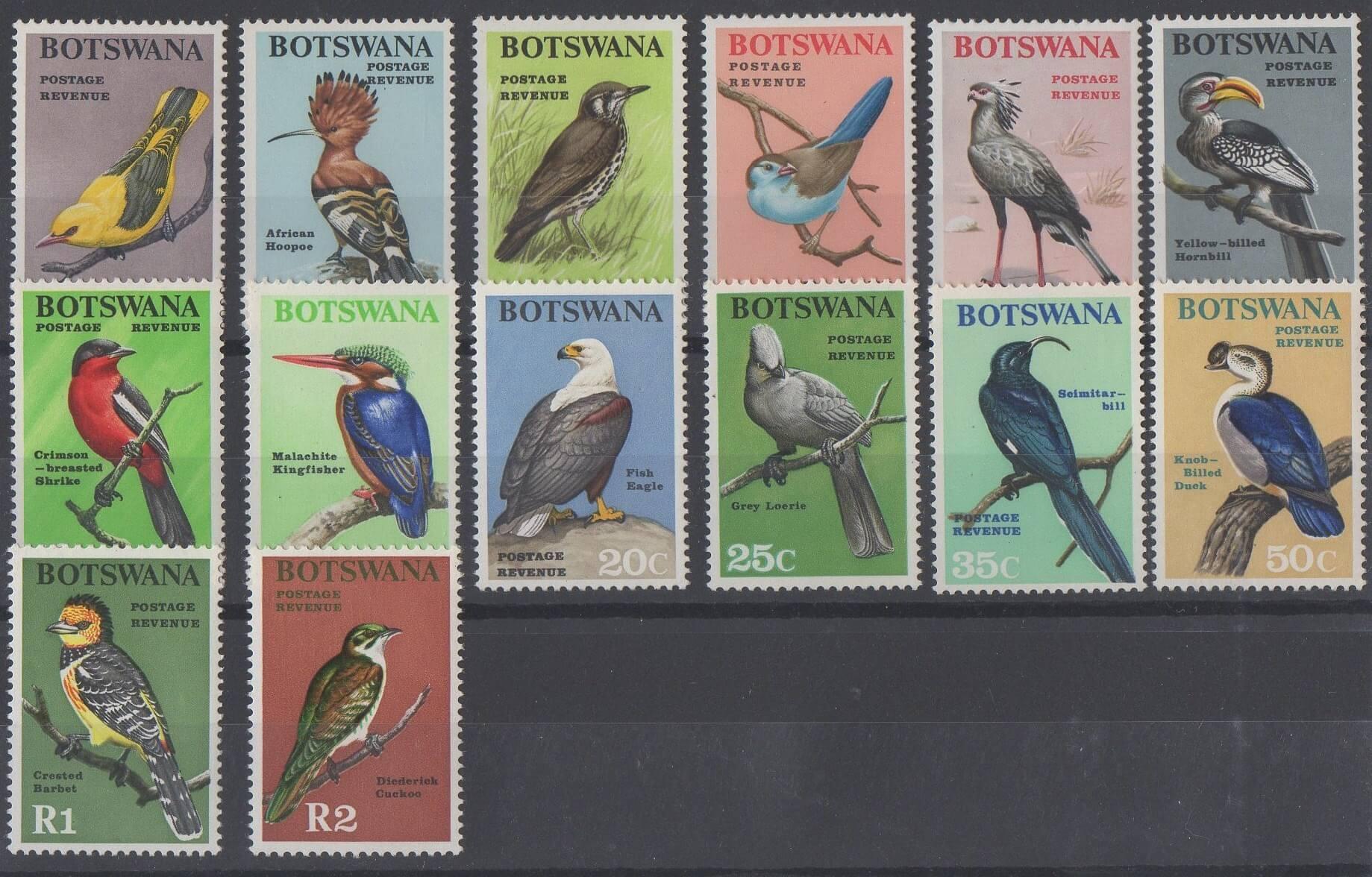 Timbres du Botswana de 1967 représentant des oiseaux