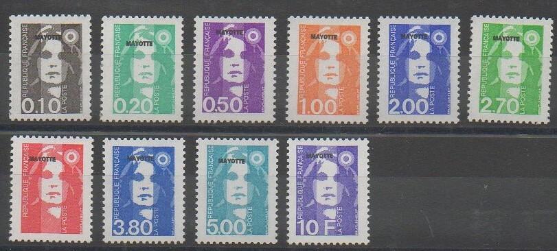 Série de timbres de Mayotte de 1997