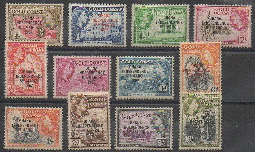 Première série de timbres du Ghana émise en 1957 (N° 1 à 9)