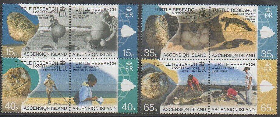 Timbres émis par l'île de l'Ascension en 2009 représentant des reptiles