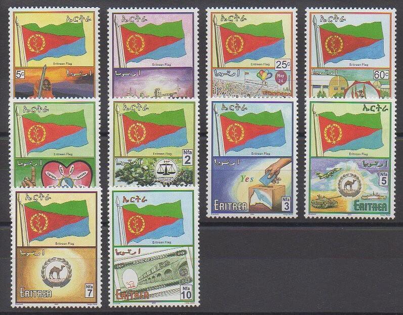 Timbres d'Erythrée élis en 2000 représentant le drapeau national