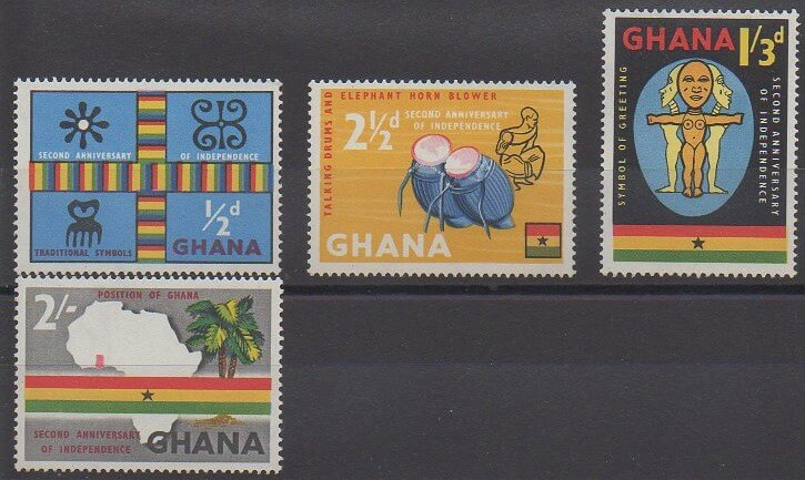 Série de timbres du Ghana émise en 1959 à l'occasion du second anniversaire de l'indépendance (N°35 à 38)