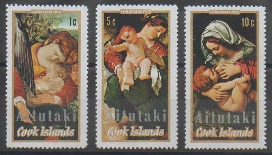 Timbres d'Aitutaki sur Noël émis en 1972