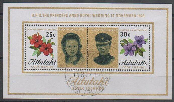 Premier bloc-feuillet d'Aitutaki de 1973