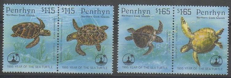 Séries de timbres de Penrhyn sur les tortues de mer