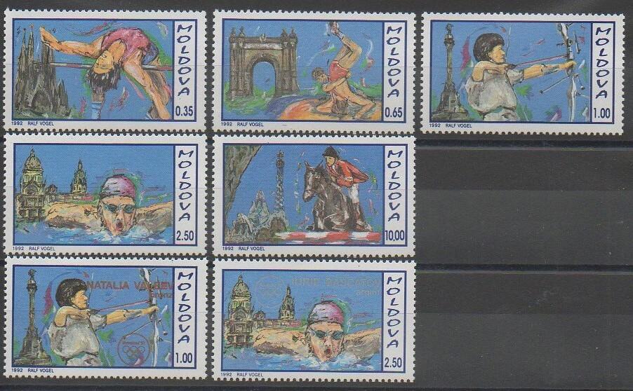 Timbres de Moldavie sur les jeux olympiques d'été de 1992