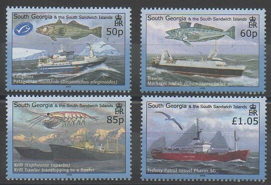 Timbres de collection de Falkland-Géorgie du Sud et Sandwich du Sud de 2008