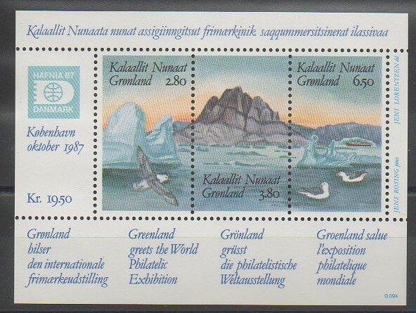Premier bloc-feuillet émis par le Groenland en 1987
