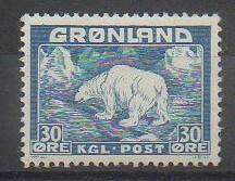 Timbre du Groenland de 1938 représentant un ours polaire