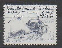 Timbre du Groenland de 1997 représentant un phoque