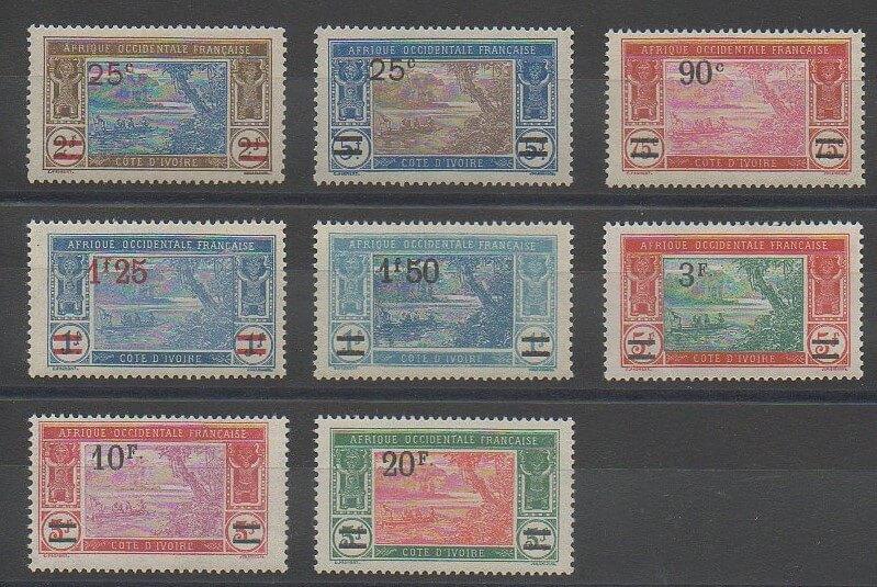 Timbres de Côte d'Ivoire de 1924 n°73 à 80