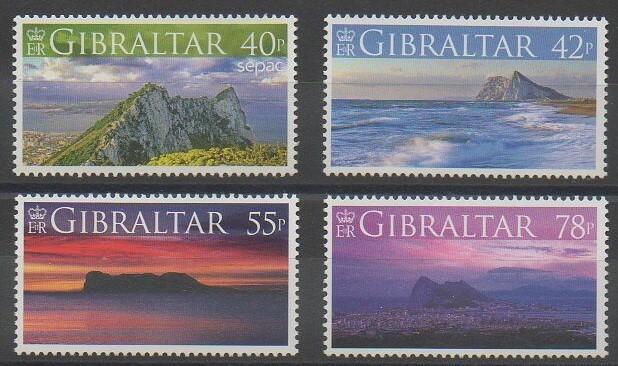 Timbres de Gibraltar de l'année 2007 représentant le rocher