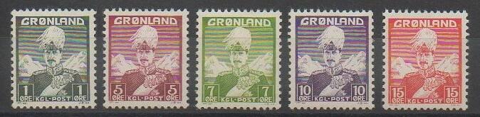 Timbres de collection du Groenland représentant le roi Christiaan X