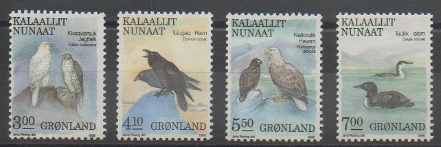 Timbres de collection du Groenland de 1988 sur les oiseaux