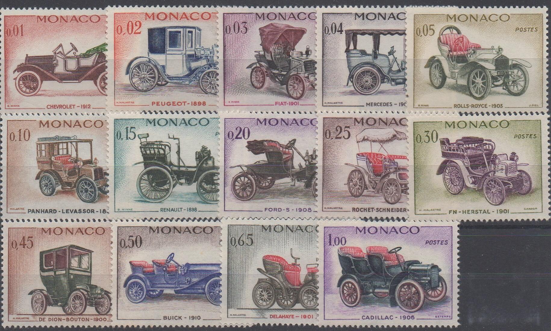 Timbres de Monaco ayant pour thème l'automobile de 1961 (No 557 à 576)
