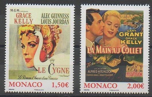Timbres de Monaco sur le cinéma et notamment Grace Kelly. timbre de 2015 n° 2956 et 2957