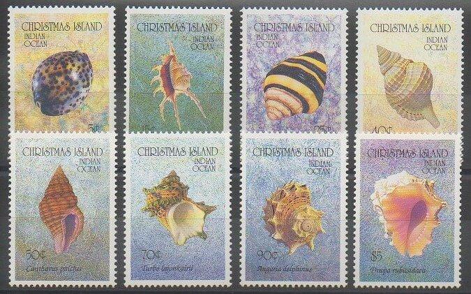 Timbres des îles Christmas sur le monde marin de 1992