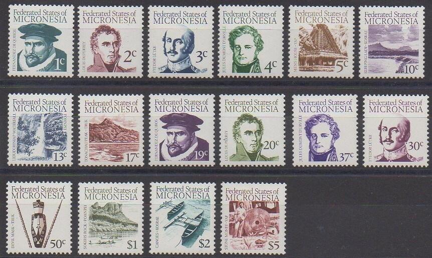 Timbres de Micronésie de 1984 représentant des personnages célèbres, des paysages et des objets typiques.