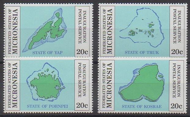 Série de 4 timbres de 1984 représentant les 4 groupes d'îles de la Micronésie