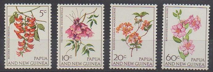 Séries de timbres de Papouasie-Nouvelle-Guinée sur la thématique des fleurs
