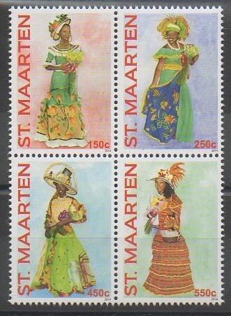 Série de timbres de lîle de Saint-Martin sur le thème des costumes