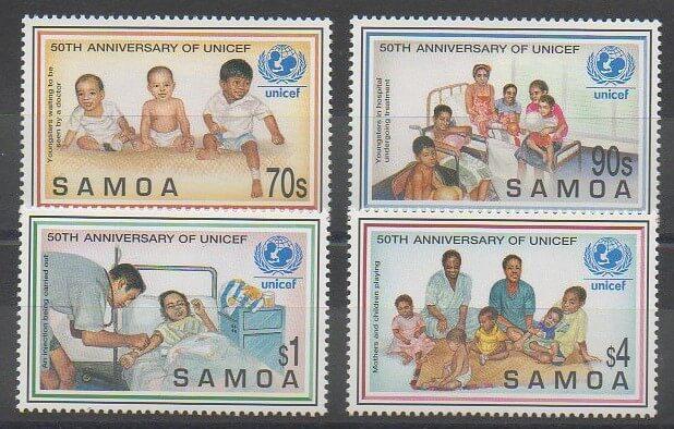 Timbres de îles Samoa amis en 1996 numéros 848 à 851 (50ème anniversaire de l'Unicef)