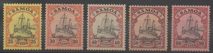 Timbres des îles Samoa de 1900 représentant les yachts impériaux