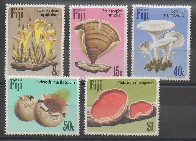 Timbres, série thématique sur les champignons des îles FidjiFidji - 1984 - No 493/497