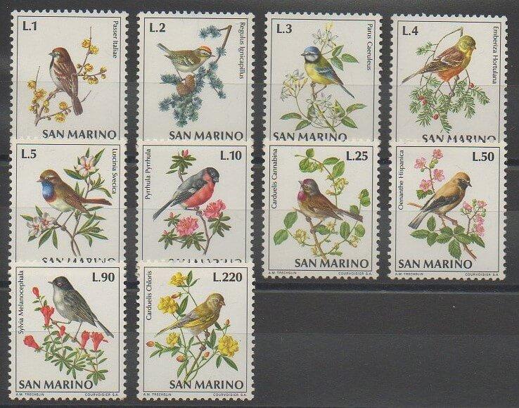 Timbres sur les oiseaux chanteurs ou passereaux de Saint-Marin de 1972