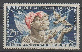 Timbres de poste aérienne du Togo de 1957