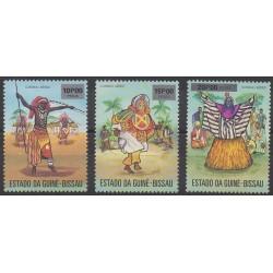 Guinea-Bissau - 1976 - Nb PA3/PA5 - Costumes - Uniforms - Fashion - Folklore - Masks or carnaval