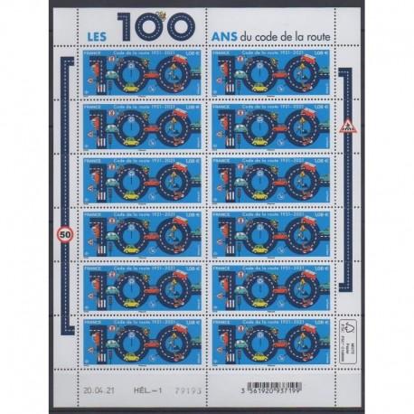 France - Feuillets de France - 2021 - No F27 - 100 ans du code de la route