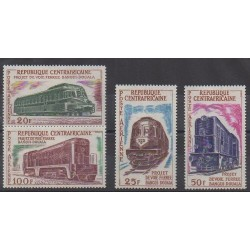 Central African Republic - 1963 - Nb PA12/PA15 - Trains - Mint hinged