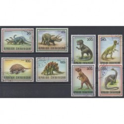 Central African Republic - 1988 - Nb 779/786 - Prehistoric animals - Used