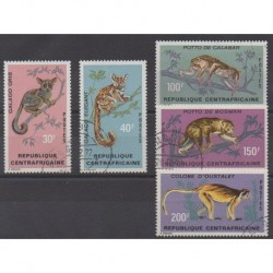 Central African Republic - 1971 - Nb 150/154 - Mamals - Used