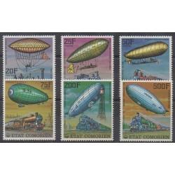 Comoros - 1977 - Nb 179/182 - PA121/PA122 - Hot-air balloons - Airships - Trains