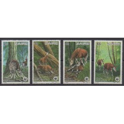 Zaire - 1984 - Nb 1182/1185 - Mamals - Endangered species - WWF