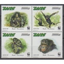 Zaïre - 1997 - No 1487/1490 - Mammifères - Espèces menacées - WWF