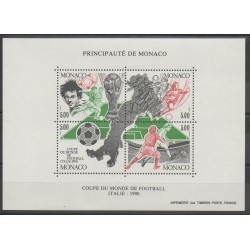 Monaco - Blocs et feuillets - 1990 - No BF 50 - Coupe du monde de football
