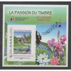 France - Feuillets FFAP - 2014 - No FFAP 9 - Fleurs