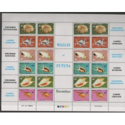Wallis et Futuna - 1984 - No 312/317 feuille - coquillages