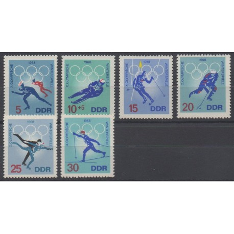Allemagne orientale (RDA) - 1968 - No 1031/1036 - Jeux olympiques d'hiver