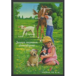 France - Blocks and sheets - 2005 - Nb BF 96 - Childhood - Dogs - Cats