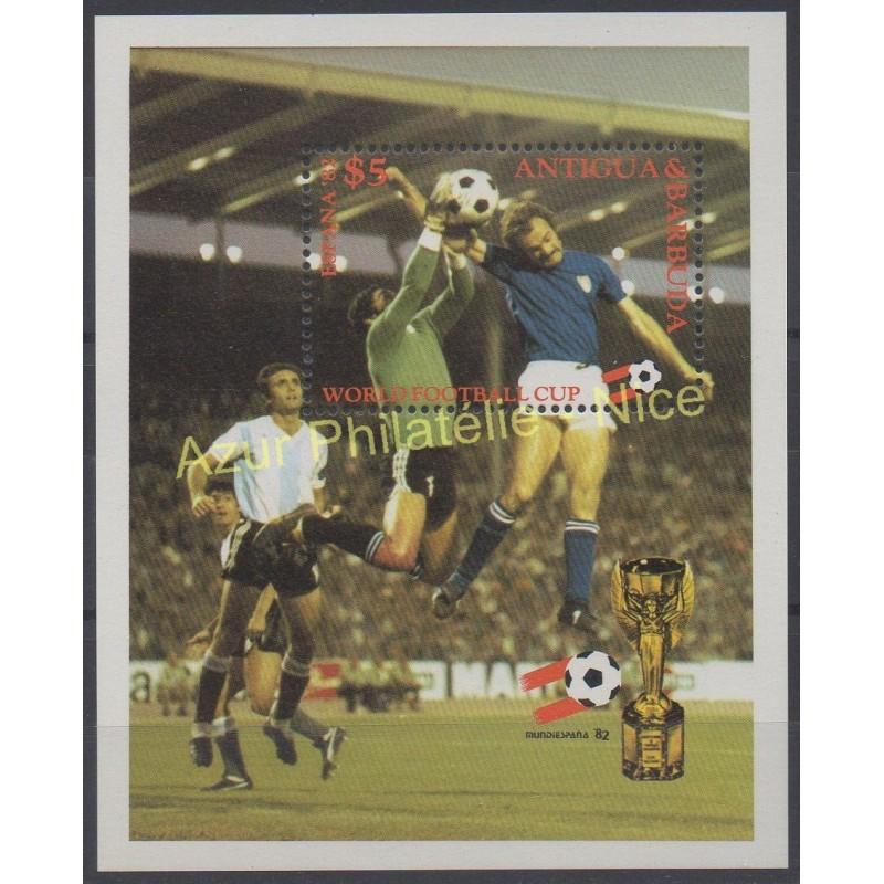 Timbres th me coupe du monde de football antigua et barbuda 1982 no bf 60 - Coupe du monde de football 1982 ...