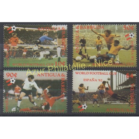 Timbres - Thème coupe du monde de football - Antigua et Barbuda - 1982 - No 649/652