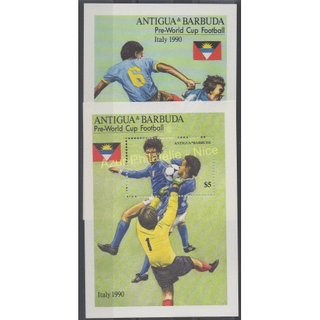 Timbres - Thème coupe du monde de football - Antigua et Barbuda - 1989 - No BF 158 - BF 159