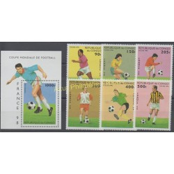 Stamps - Theme soccer world cup - Congo (Republic of) - 1996 - Nb 1041/1046 - BF 65