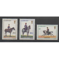 Guernsey - 1975 - Nb 113/115 - Horses - Military history