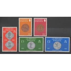 Guernesey - 1980 - No 194/198 - Monnaies Et Billets